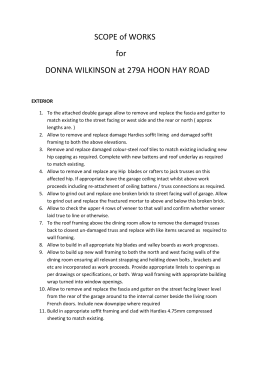 SCOPE of WORKS for DONNA WILKINSON at 279A HOON HAY