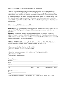 ALGIERS HISTORICAL SOCIETY Application for Membership