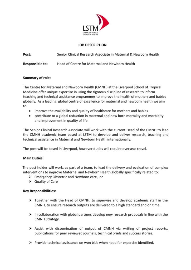 JOB DESCRIPTION Post: Senior Clinical Research Associate in