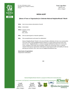 Media Alert - Alliance for Community Trees