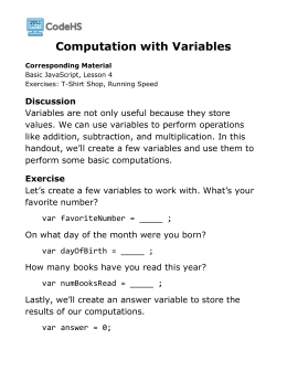 Computation With Variables