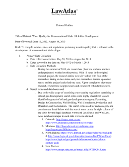 Protocol Outline_Unconventional Shale Oil and Gas