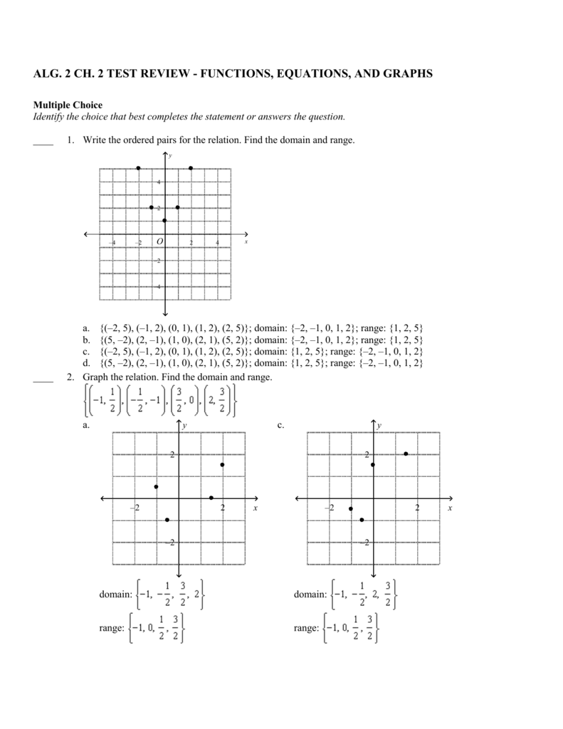 alg  2 ch  2 test review - functions, equations, and graphs