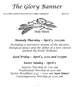 April 2015 Newsletter - Cross of Glory Lutheran Church