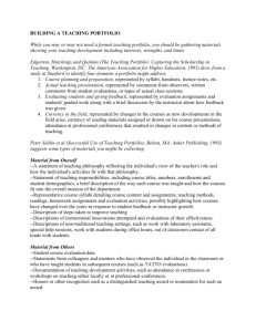 Teaching Portfolio Worksheet for Teaching Philosophy