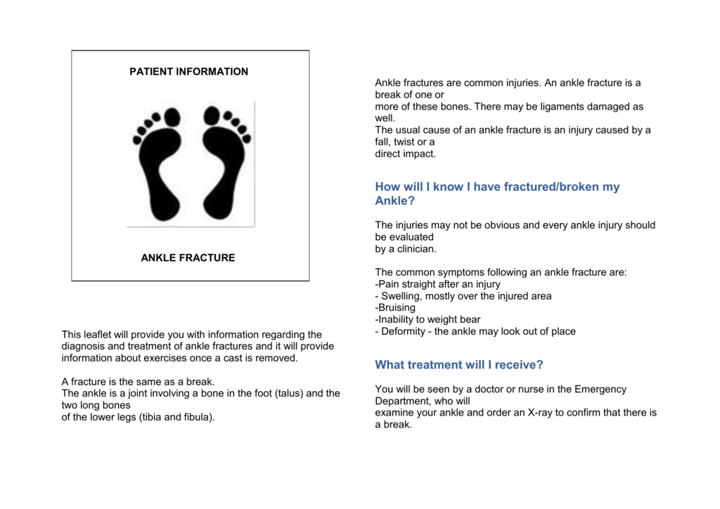 DOWNLOAD: Ankle Fracture Patient Information leaflet