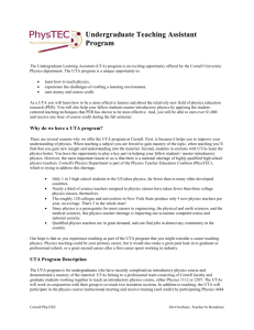 UTA Program Description - PhysTEC @ Cornell