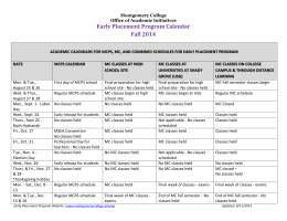 Early Placement Program Calendar