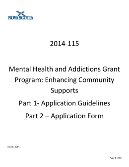 Mental Health and Addictions Community Linkage Grants Program