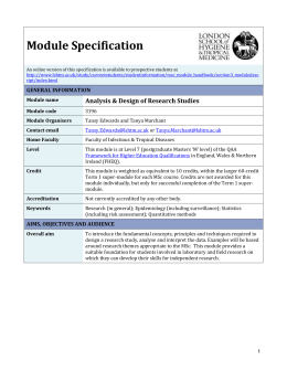 3196 Analysis & Design of Research Studies Module Specification