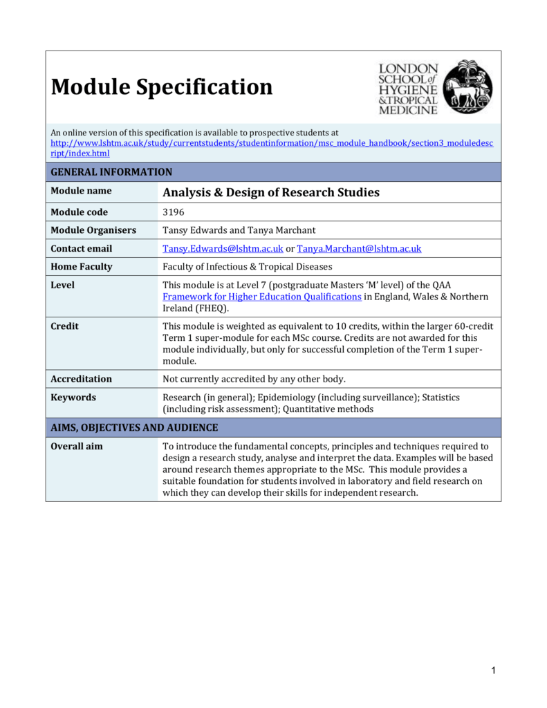 3196 Analysis Design Of Research Studies Module Specification