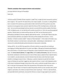 critical analysis of theistic evolution Critical analysis paper 2 the essay theistic evolution, by keith ward, deals with the theory of evolution and the multiple points from which it can be analyzed in a theistic, atheistic, and even purely scientific point of view.