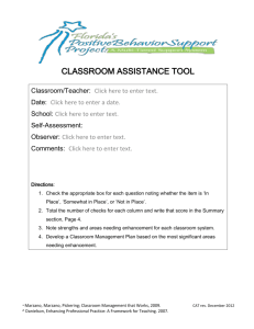 Classroom Assistance Tool - Florida`s Positive Behavior Support