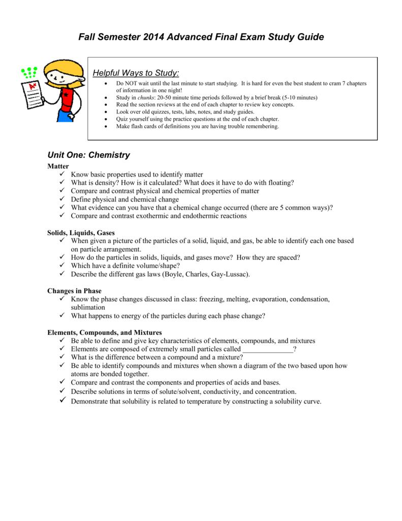 Fall Semester 2007 Final Exam Study Guide