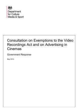 Consultation on Exemptions to the Video Recordings Act