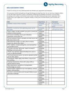 Risk Assessment Form - Agility Recovery Solutions