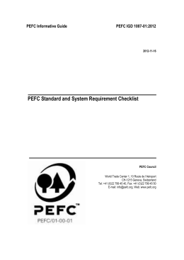 PART III: Standard and System Requirement Checklist for