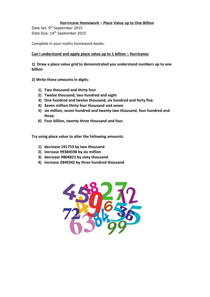 6bf27bd4c8d Hurrricane Homework – Place Value up to One Billion Date Set: 9th September  2015 Date Due: 14th September 2015 Complete in your maths homework books.