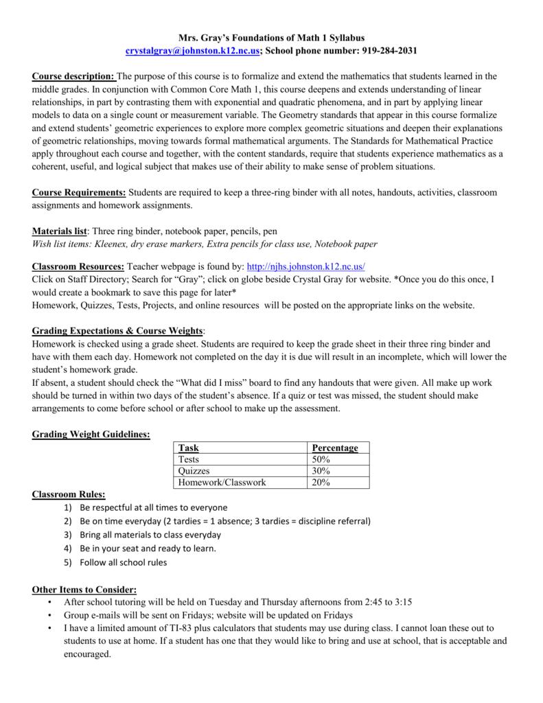 Syllabus- Foundations of Math 1