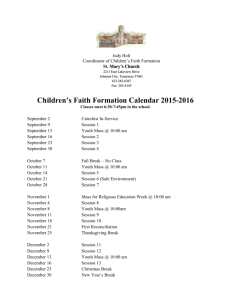 CFF Calendar 2015-2016 - St. Mary`s Catholic Church, Johnson City
