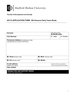 2011/2 APPLICATION FORM - BA Honours Early Years Route