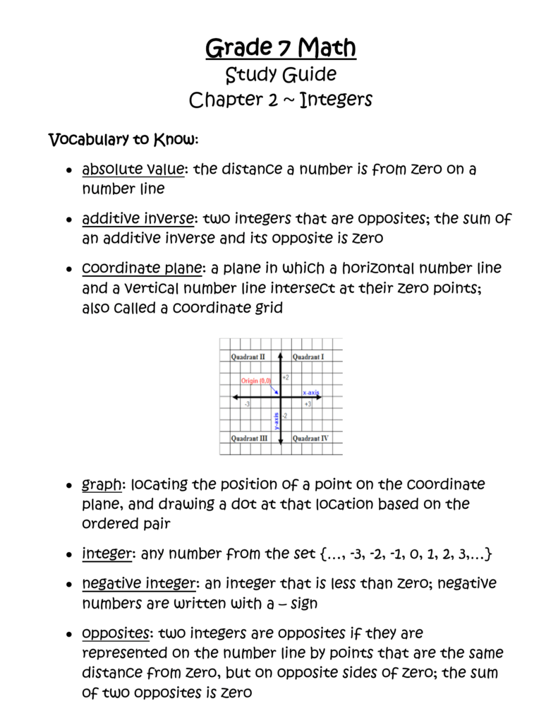 worksheet Quadrant Numbers study guide integers
