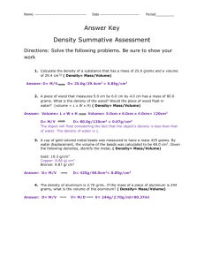 Summative assessments answer key Determining density
