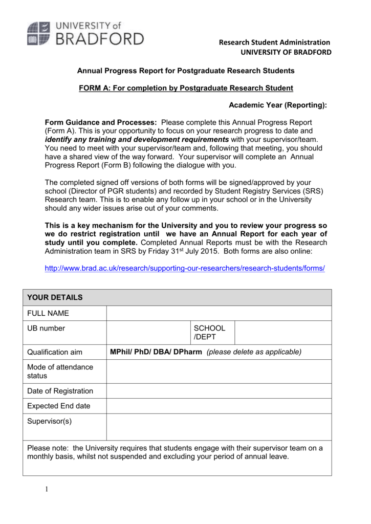 Phd Progress Report Template Annual First Page