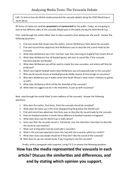 Analysing Media Texts: The Vuvuzela Debate