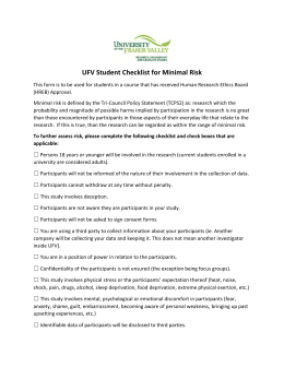 Student Research Ethics Checklist