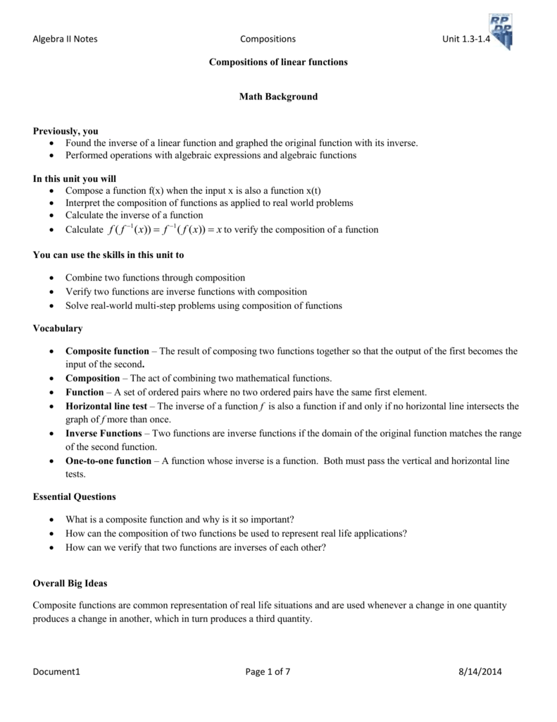 Algebra Ii Notes Compositions Unit 13