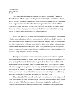 1960s essay questions Unit 1: living history  in this lesson, students will consider what they know about the 1960s,  and three questions you might ask a person who lived.