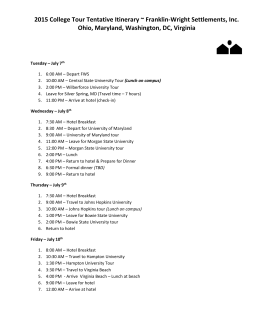 2015 College Tour Tentative Itinerary ~ Franklin