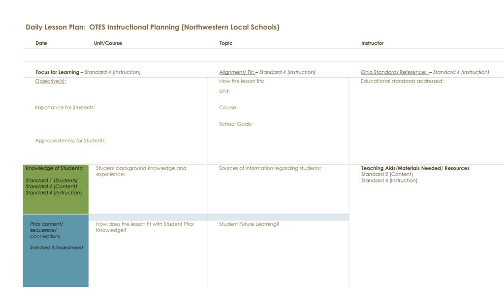 OTES Lesson Plan Form Northwestern Schools - Otes lesson plan template