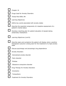 Chapter 16 Drugs Used for Anxiety Disorders Teresa Peck BSN, RN