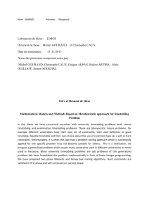 THESE Mathematical Models and Methods Based on Metaheuristic
