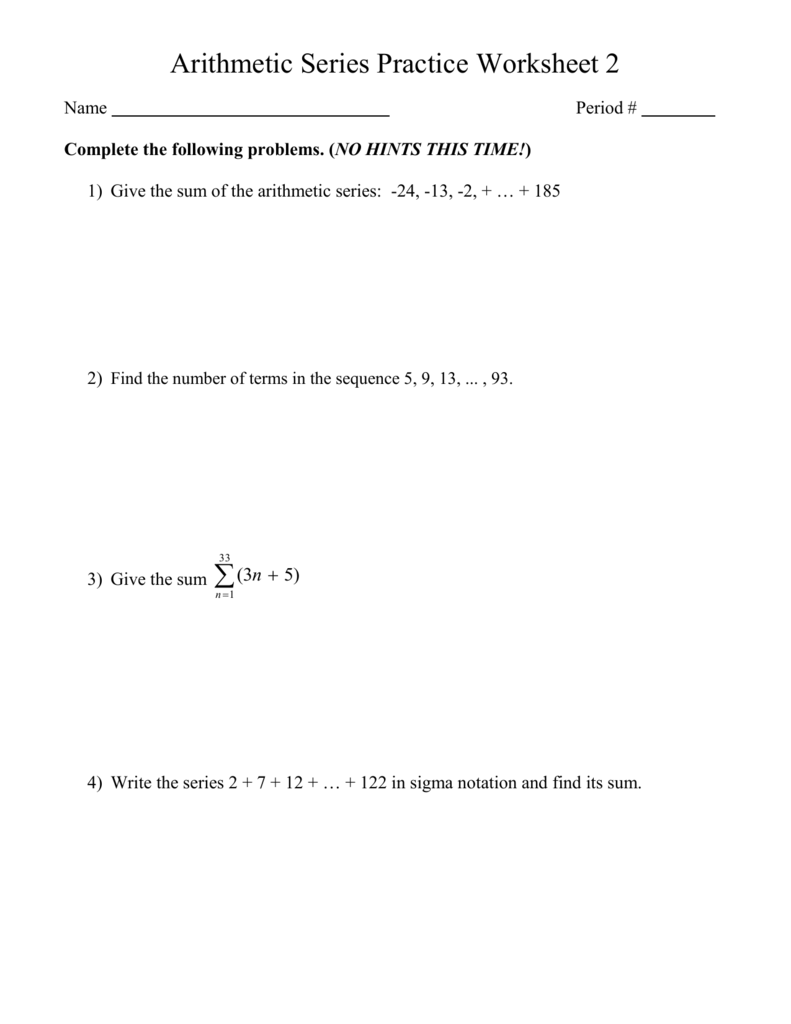 Arithmetic Series Practice Worksheet 2