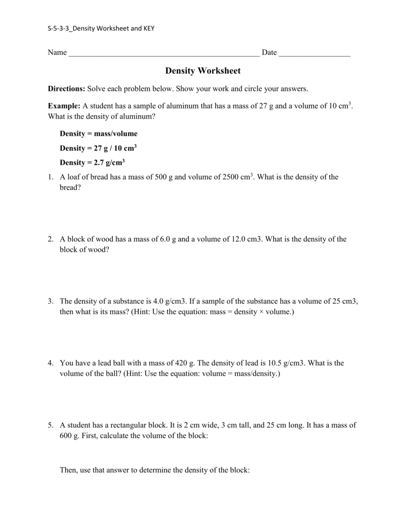 Density Worksheet pdesas fline