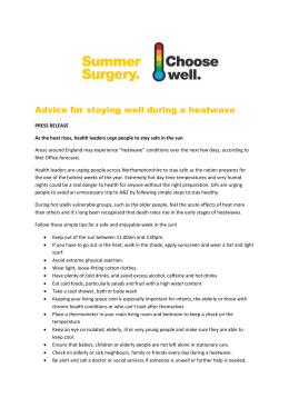 Advice for staying well during a heatwave