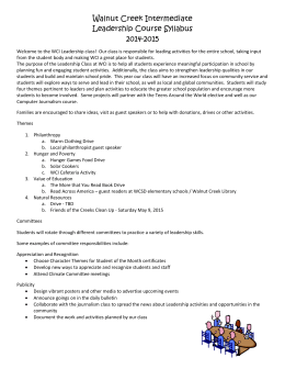 Walnut Creek Intermediate Leadership Course Syllabus 2014
