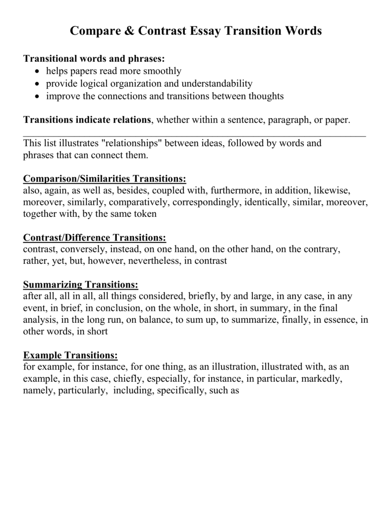 compare contrast essay transition words transitional