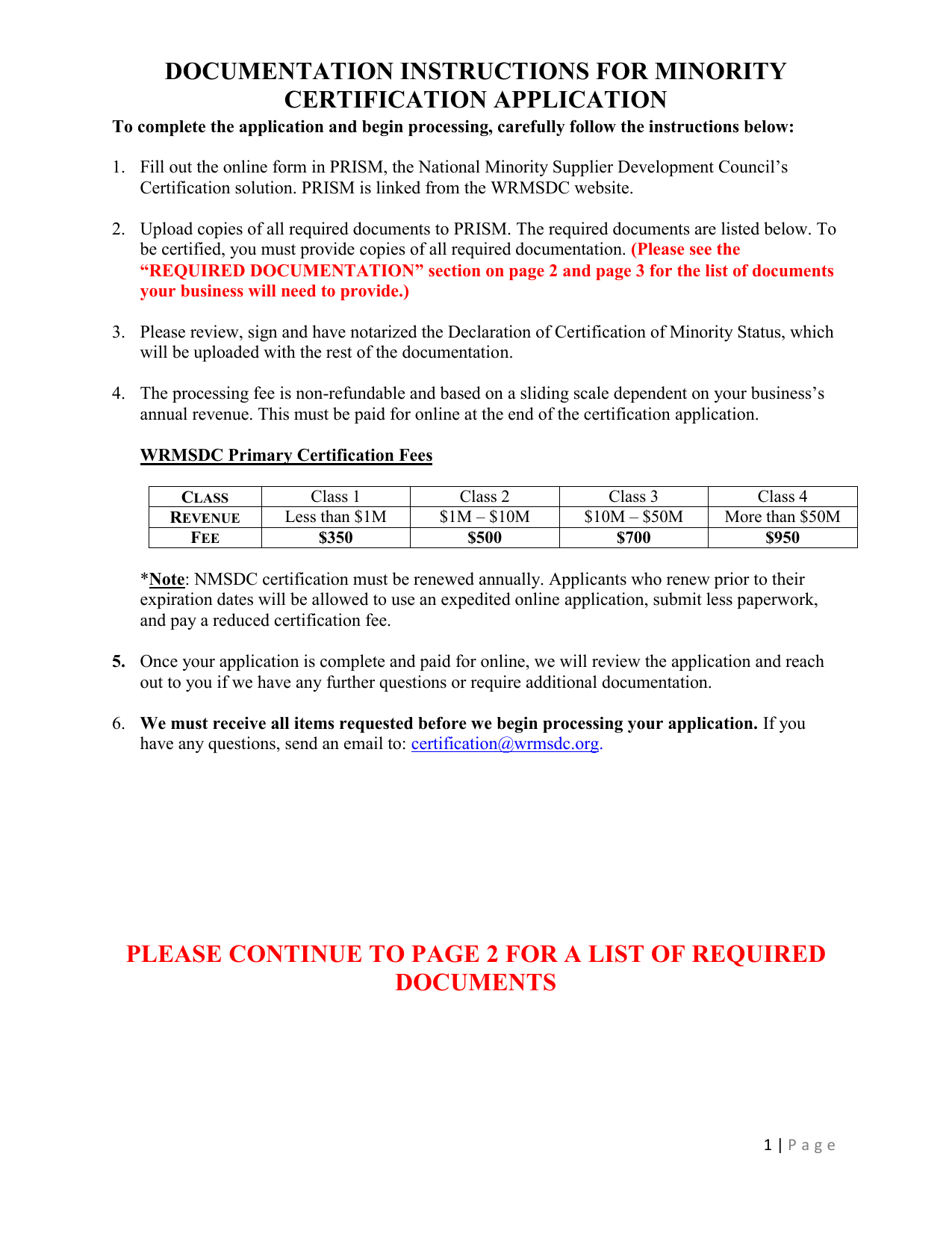 documentation instructions for minority certification