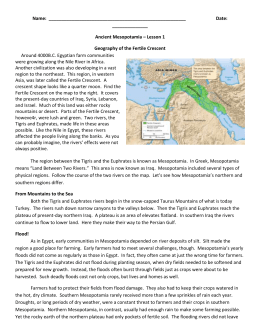 Name: Date: Ancient Mesopotamia – Lesson 1 Geography of the