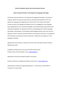 Ussher Assistant Professor in Irish Speech and Language Technology