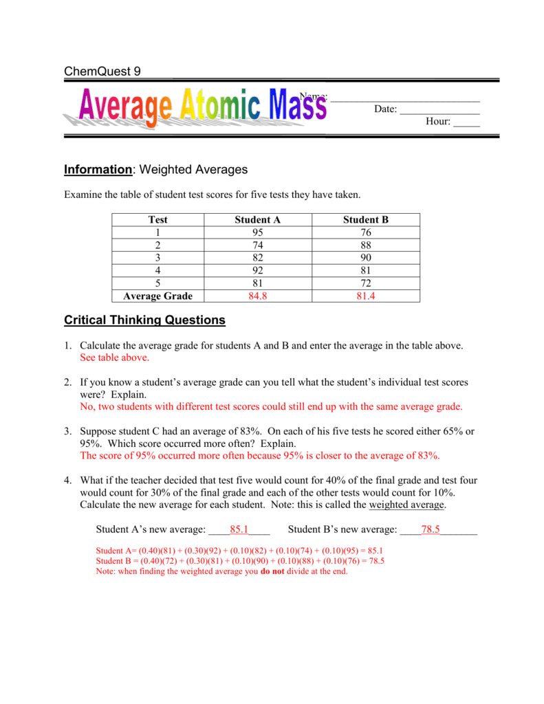 Information: Average Atomic Mass
