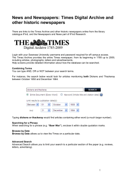 Times Digital Archive and other historic newspapers