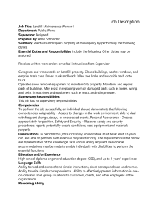 Job Description Job Title: Landfill Maintenance Worker I Department