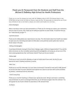 DeBakey High School Students Thank You Letter
