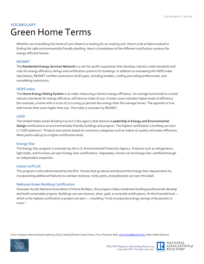 The Property Buyer Vocabulary Green Home Terms