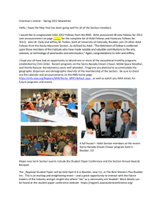 Chairman`s Article – Spring 2012 Newsletter Hello, I hope the New